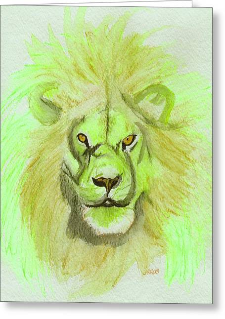 C.s Lewis Greeting Cards - Lion green Greeting Card by First Star Art
