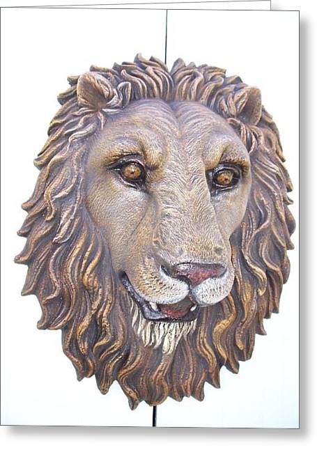 Art Sale Sculptures Greeting Cards - Lion Head life-size wall Sculpture Greeting Card by Chris Dixon