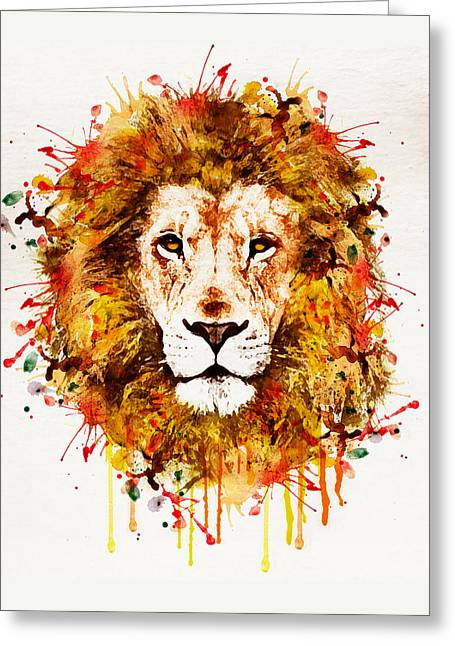 Wildlife Digital Art Greeting Cards - Lion Head watercolor Greeting Card by Marian Voicu