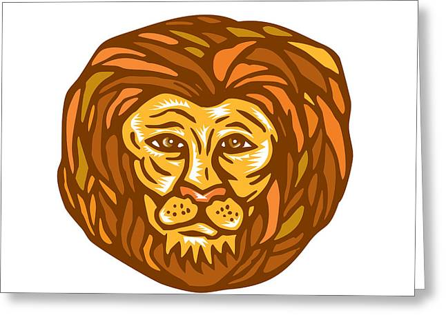 Linocut Greeting Cards - Lion Head Woodcut Linocut Greeting Card by Aloysius Patrimonio