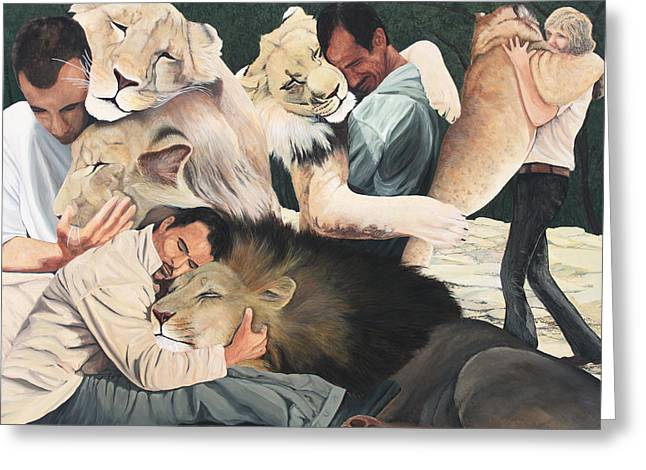 Levi Greeting Cards - Lion Hugs Greeting Card by Cory Calantropio