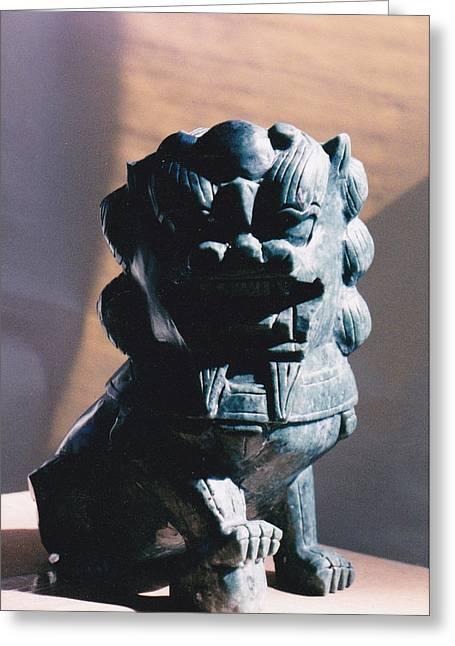 Animal Ceramics Greeting Cards - Lion Icon Greeting Card by Allan Koskela