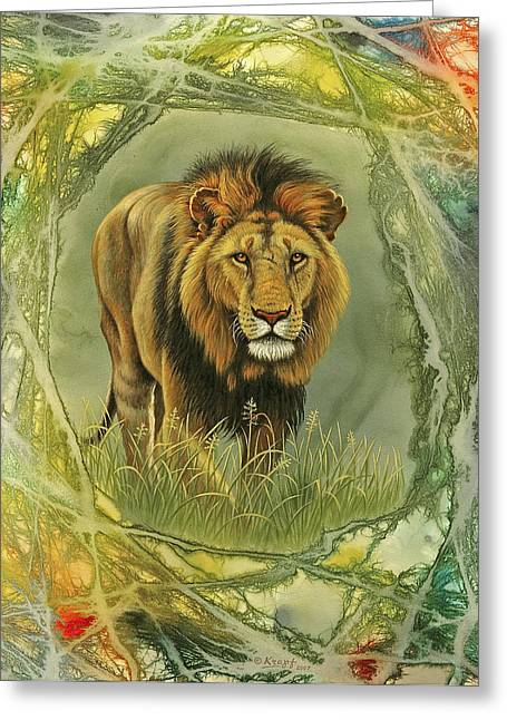 Wildlife Greeting Cards - Lion in Abstract Greeting Card by Paul Krapf