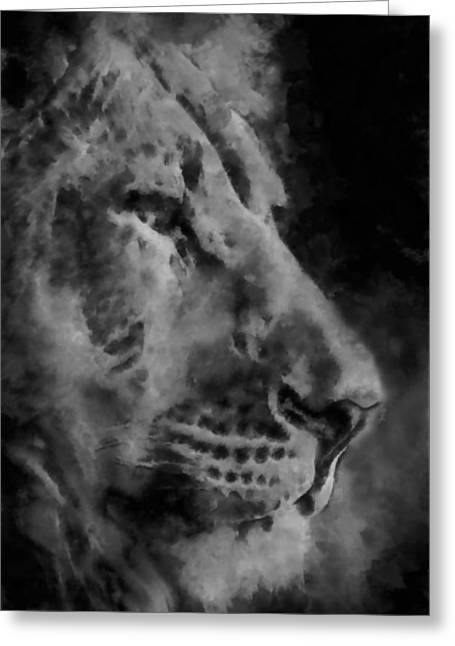 Wildcats Digital Greeting Cards - Lion in the Clouds Greeting Card by Ernie Echols