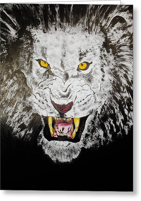 Lion In The Darkness Greeting Card by Zech Browning