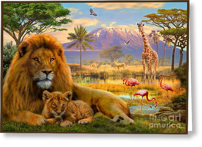 National Digital Art Greeting Cards - Lion Greeting Card by Jan Patrik Krasny