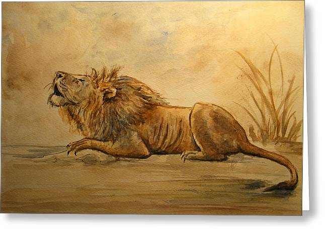 Savanna Greeting Cards - Lion Greeting Card by Juan  Bosco