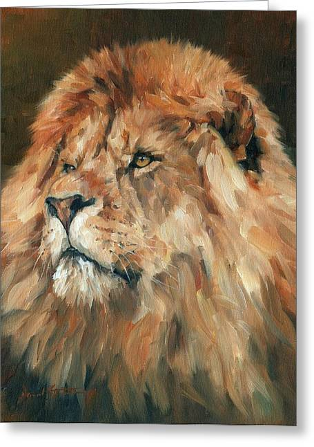 Lions Greeting Cards - Lion King Greeting Card by David Stribbling