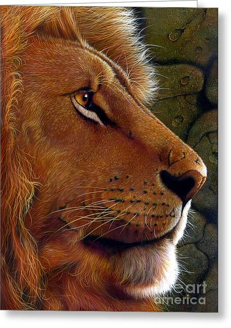 """wild Cat"" Greeting Cards - Lion King Greeting Card by Jurek Zamoyski"
