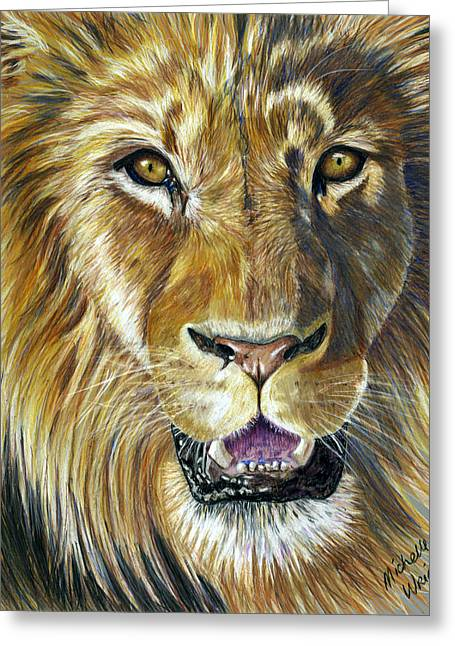 Nature Greeting Cards - Lion King Greeting Card by Michelle Wrighton