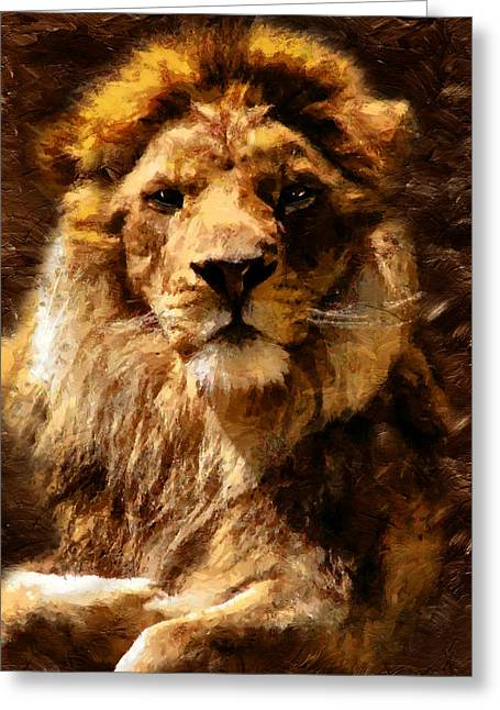 Process Greeting Cards - Lion King Of Beasts Greeting Card by Georgiana Romanovna