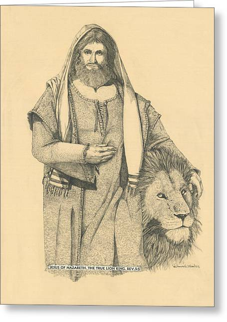 Jesus The Lion Of Judah Greeting Cards - The True Lion King Greeting Card by Robert H Ward