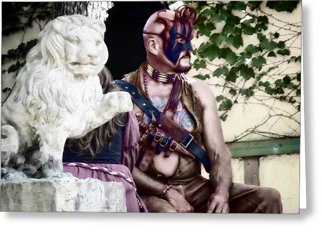Tamer Greeting Cards - Lion Man Greeting Card by Thomas Woolworth