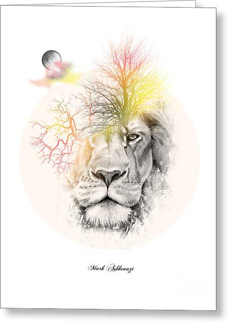 Tiger Illustration Greeting Cards - Lion Greeting Card by Mark Ashkenazi