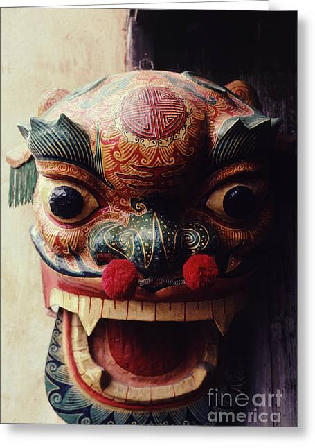 Chinese New Year Greeting Cards - Lion Mask for Chinese New Year Greeting Card by Anna Lisa Yoder