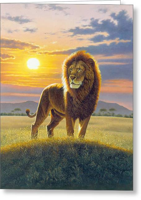Cats Photographs Greeting Cards - Lion Greeting Card by MGL Studio - Chris Hiett