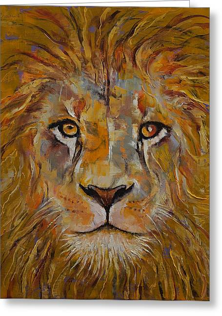 Lions Greeting Cards - Lion Greeting Card by Michael Creese
