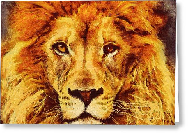 Danger Mixed Media Greeting Cards - Lion Of Africa Greeting Card by Georgiana Romanovna