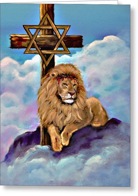 O Lord Greeting Cards - Lion of Judah at the Cross Greeting Card by  Bob and Nadine Johnston