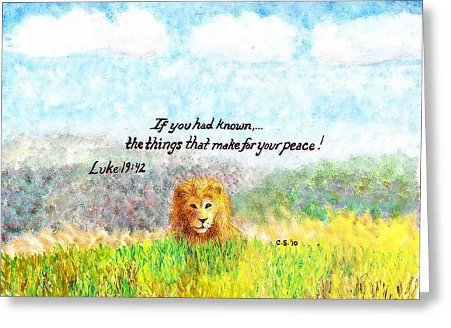 Religious Paintings Greeting Cards - Lion of Judah Greeting Card by Catherine Saldana