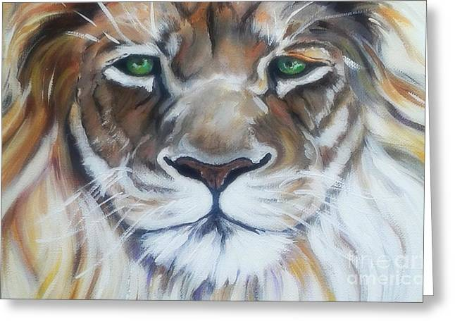 Face Recognition Paintings Greeting Cards - Lion Of Judah close up Greeting Card by MarLa Hoover
