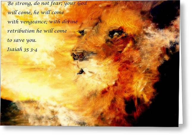 Lion of Judah Courage  Greeting Card by Amanda Dinan