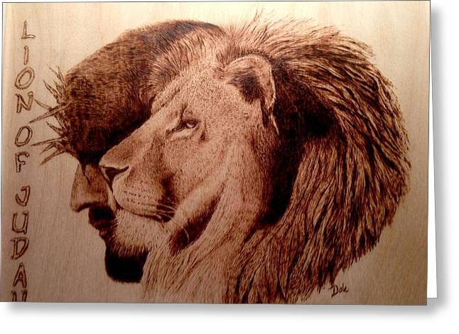 Religion Pyrography Greeting Cards - Lion of Judah Greeting Card by Dale Bradley