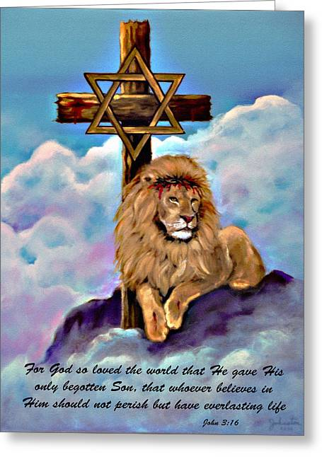Testament Greeting Cards - Lion of Judah Foot of the Cross Greeting Card by  Bob and Nadine Johnston