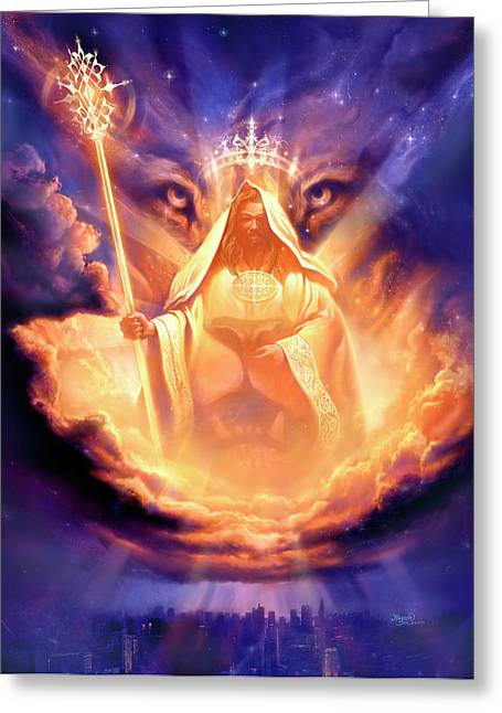 Clouds Posters Greeting Cards - Lion of Judah Greeting Card by Jeff Haynie