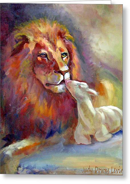 Lion And Lamb Greeting Cards - Lion of Judah Lamb of God Greeting Card by Judy Downs