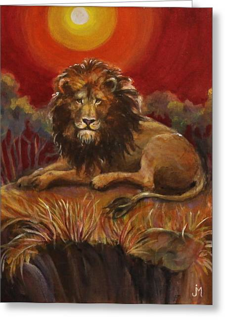 Looking At Viewer Greeting Cards - Lion on a Cliff Greeting Card by Jan Mecklenburg