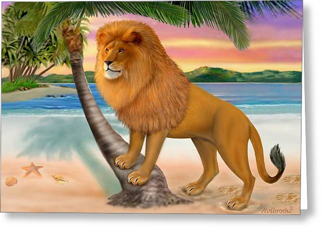 Humorous Greeting Cards Digital Art Greeting Cards - Lion On The Beach Greeting Card by Glenn Holbrook