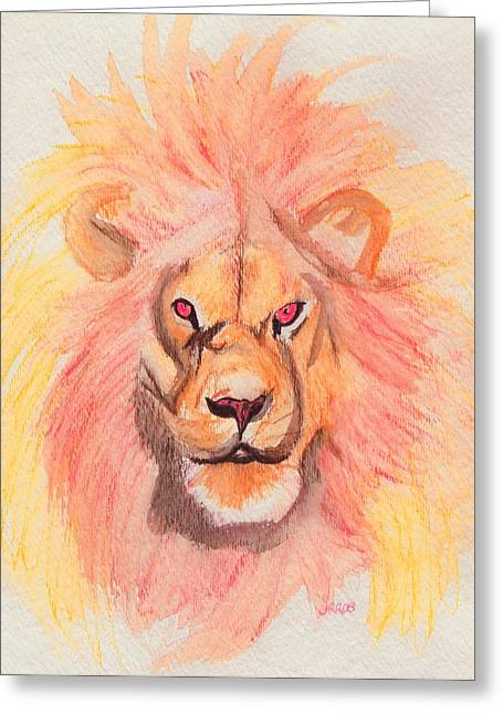 C.s Lewis Greeting Cards - Lion orange Greeting Card by First Star Art