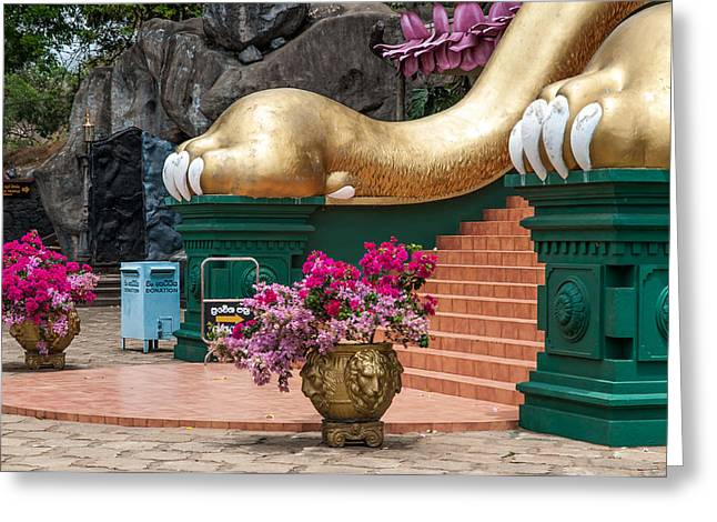 Ceylon Greeting Cards - Lion Paws of the Entrance to Golden Temple. Dambulla Greeting Card by Jenny Rainbow