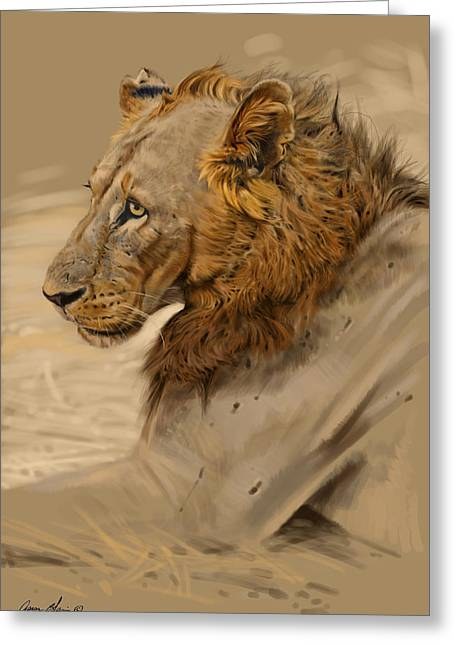 Blaise Greeting Cards - Lion Portrait Greeting Card by Aaron Blaise