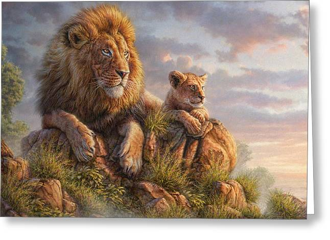Whimsical Mixed Media Greeting Cards - Lion Pride Greeting Card by Phil Jaeger
