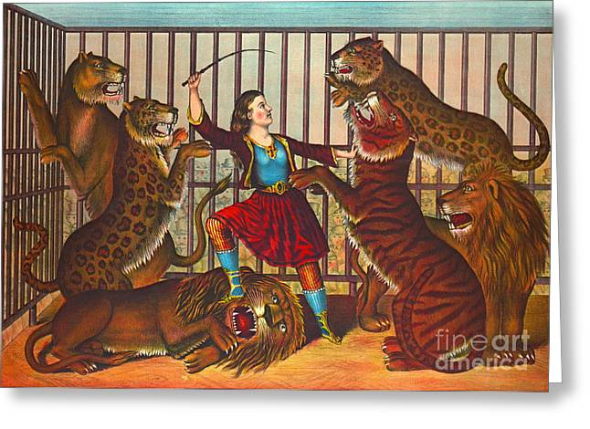 Tamer Greeting Cards - Lion Queen 1874 Greeting Card by Padre Art
