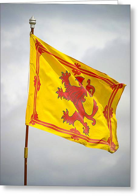Rampant Greeting Cards - Lion Rampant Scottish flag Greeting Card by Alan Oliver
