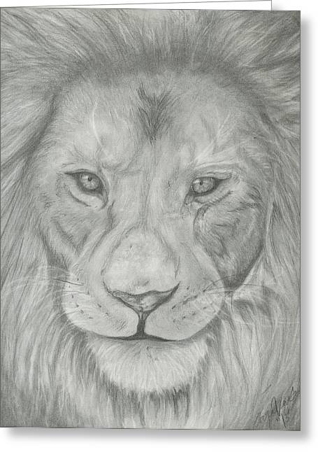 Hand Drawn Greeting Cards - Lion Greeting Card by Raquel Ventura