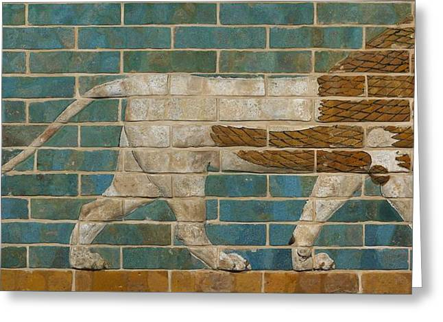 Lion Relief From The Processional Way In Babylon Greeting Card by Babylonian