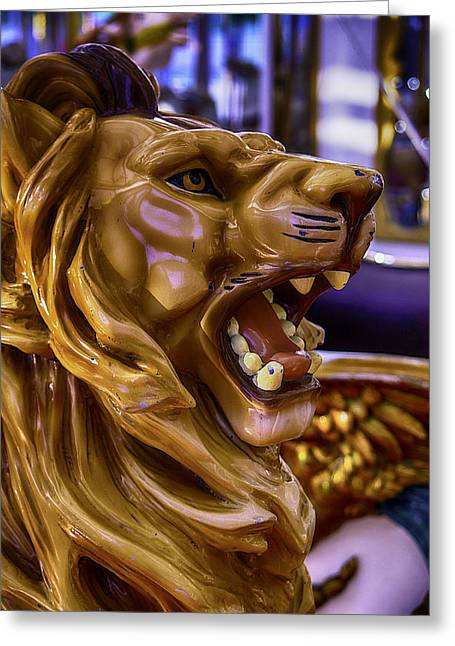 Amusements Greeting Cards - Lion Roaring Carrousel Ride Greeting Card by Garry Gay