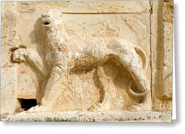 Lion Sculpture, Qasr Al Abd, Jordan Greeting Card by Adam Sylvester
