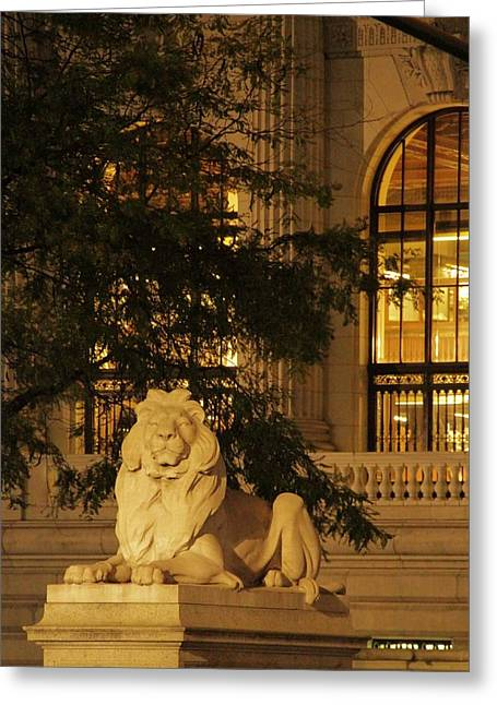 Streetlight Greeting Cards - Lion Statue In New York City Greeting Card by Dan Sproul