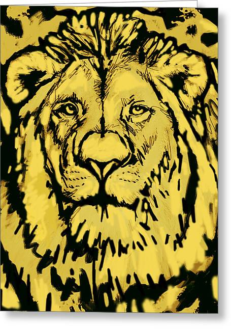 Lions Greeting Cards - Lion Stylised Pop Art Drawing Potrait Poser Greeting Card by Kim Wang