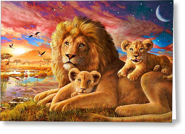 Secure Greeting Cards - Lion Sunrise Greeting Card by Adrian Chesterman