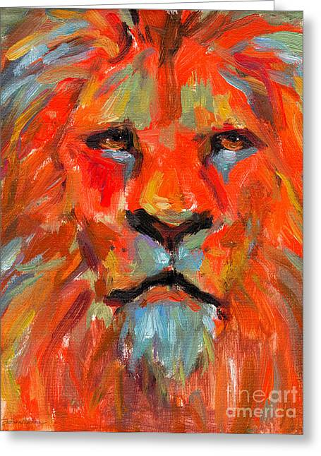 Cat Print Greeting Cards - Lion Greeting Card by Svetlana Novikova