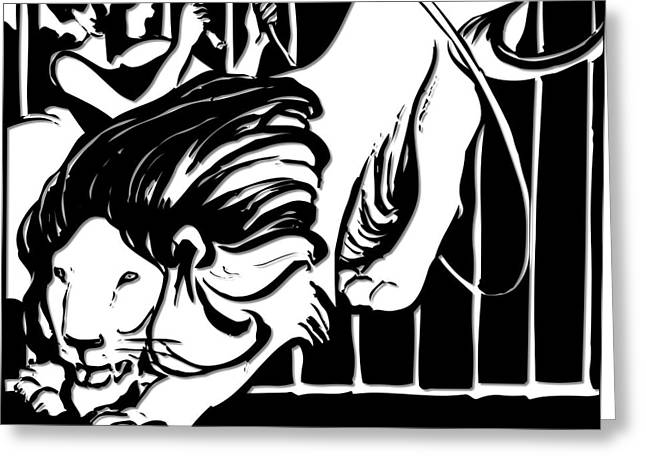 Tamer Greeting Cards - Lion Tamer Silhouette  Greeting Card by Rose Santuci-Sofranko