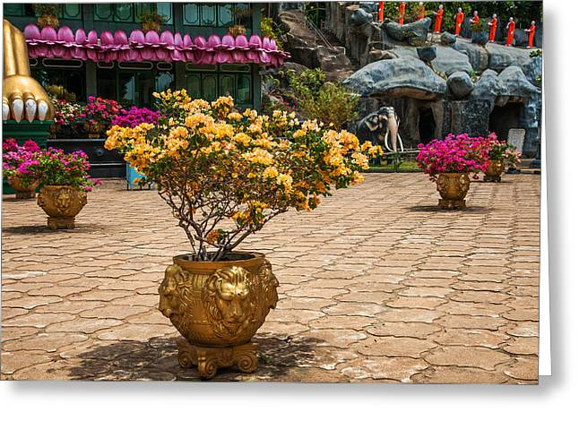 Ceylon Greeting Cards - Lion Vases at Golden Temple in Dambulla Greeting Card by Jenny Rainbow