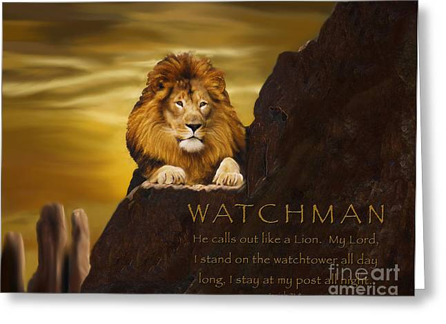Prayer Warrior Greeting Cards - Lion Watchman Greeting Card by Constance Woods