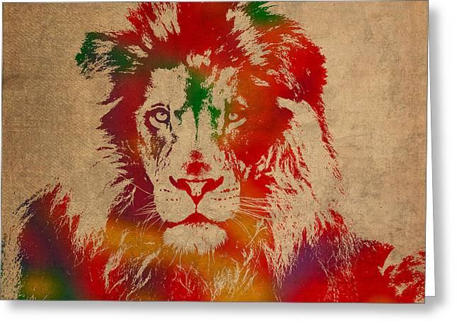 Lions Greeting Cards - Lion Watercolor Portrait on Old Canvas Greeting Card by Design Turnpike